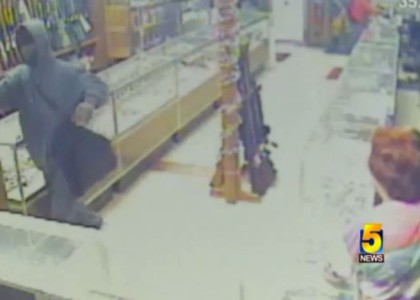 [VIDEO] 74-year-old woman thwarts pawn shop robbery with a her .38