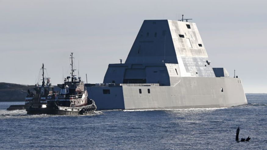 Image result for Largest destroyer built for Navy heads out to sea