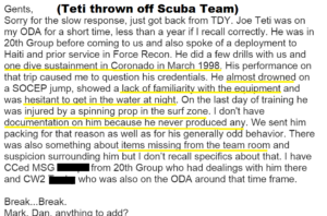 Combat Diver Team Sergeant throws Teti off team he had NO skills or proof