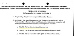 Highlighted Teti lawsuit page suing for military lies