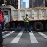 Dump Trucks used as barricades to protect NY Turkey Day Parade