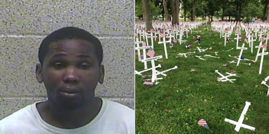 Man sentenced for driving through Memorial Day crosses
