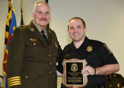Maryland police officer honored for heroism after apartment explosion