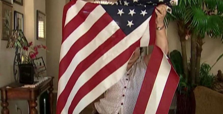 Military mother's American flag desecrated