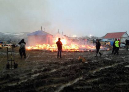Pipeline protesters set fires ahead of camp closing