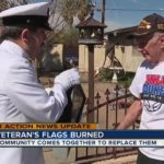 U.S. Navy veteran's four flags burned to ashes, support pours in from community [VIDEO]