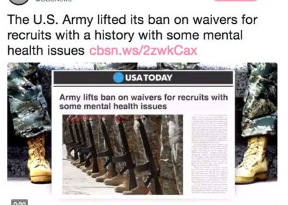 US Army offers waivers for recruits with mental health issues in effort to strengthen ranks