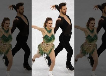French ice dancer Gabriella Papadakis's wardrobe malfunction during Olympics! *Slightly NSFW*